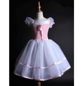 White and light pink patchwork short sleeves girls princess competition performance velvet leotard tutu skirt long length ballet dance dresses