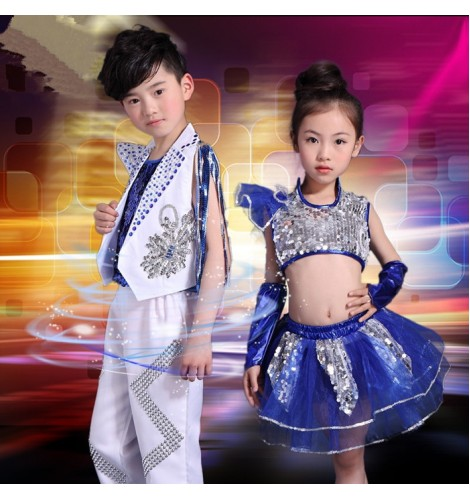 64a3cd10585d White and royal blue patchwork boys girls kids children modern dance ...