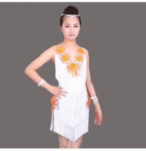 White and yellow patchwork Sequins fringes tassels girls kids children stage performance competition school play latin dance dresses outfits