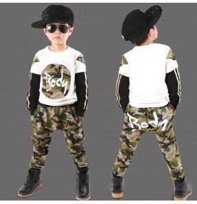 white army camouflage printed fashion boys kids children girls cos play stage performance cotton jazz hip hop dance costumes outfits