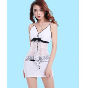 White black lace sexy fashion girls women's female lady strap modern dance club wear jazz dance singer performance outfits costumes