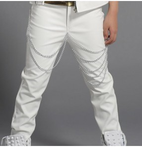 White black leather fashion fringes boys kids children drum players jazz dj singer stage performance school play hip hop dance costumes outfits pants trousers