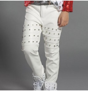 White black leather long length rivet fashion boys kids children baby school play hip hop jazz stage performance singer drummer dancing pants trousers