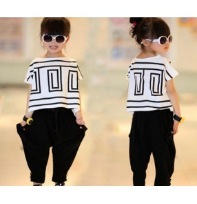 White black patchwork geometry printed girls kids child toddlers kindergarten baby jazz dance stage performance hip hop haren pants t shirt dance costumes outfits