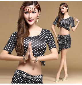 White black polka dot printed short sleeves round neck women's ladies female sexy fashion competition performance professional belly dance costumes outfits dresses with diamond waist chain sashes