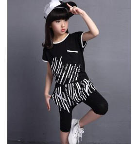 White black striped printed short sleeves harem pants girls kids children performance hip hop jazz modern dance school play costumes outfits
