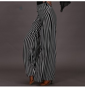 White black striped wide legs swing long length high waist fashion women's female competition performance professional latin ballroom dance pants trousers for ladies