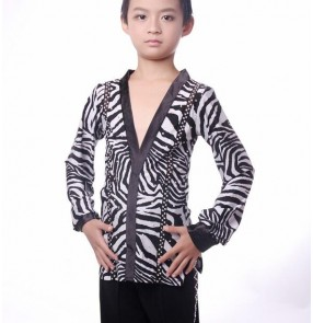 White black zebra printed spandex rhinestones v neck long sleeves boys kids children competition professional rhythm ballroom latin dance tops shirts