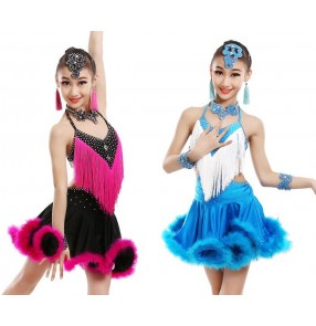 White blue fuchsia hot pink black patchwork rhinestones feather fringes backless performance competition school play girls latin salsa dance dresses outifits