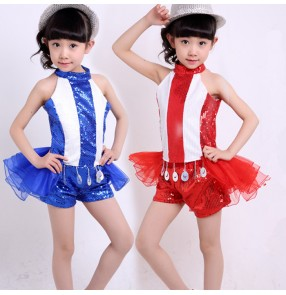 White blue red patchwork striped sequins paillette girls kids children stage performance tuxedo jazz dj ds singer dance school play hip hop costumes outfits dance wear