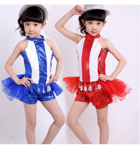 c19ffb3ae60b White blue red patchwork striped sequins paillette girls kids ...