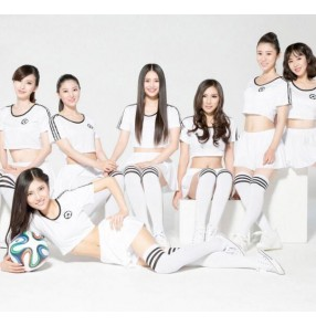 White colored cotton spandex short sleeves women'a girls football modern dance cos play cheerleaders costumes outfits soccer baby clothes costumes