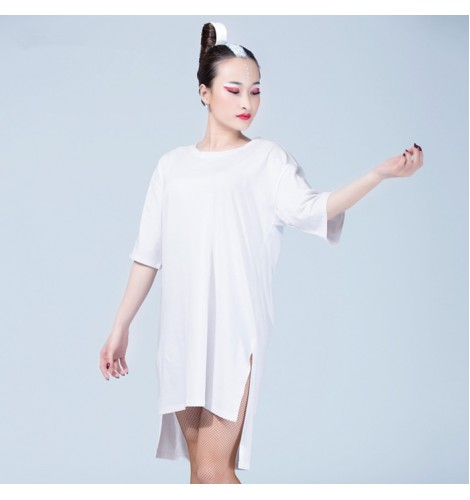white colored women s ladies female short sleeves loose gymnastics