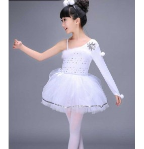 White feather one shoulder sleeves girls kids children stage performance swan lake school play leotards ballet tutu skirt dancing dresses