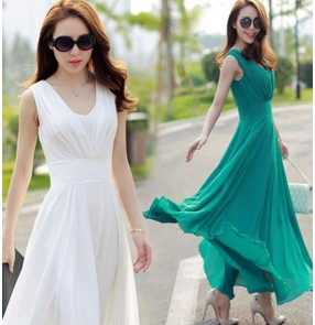 White green plain colored Tank v neck sleeveless chiffon summer women girls fashion Aline maxi long length floor length bohemia beach dresses