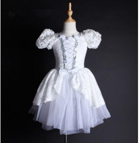 White lace patchwork girls kids children short sleeves competition professional swan lake leotard tutu skirt ballet dancewear dresses