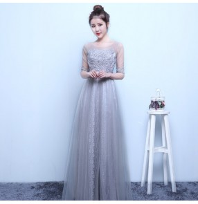 White light pink turquoise yellow silver light gray lace appliques tulle see through short sleeves round neck A line long length women's ladies formal celebration special occasion wedding party bride evening dresses vestidos