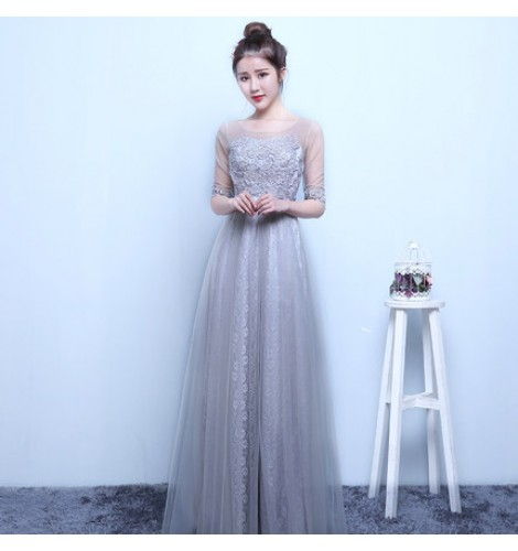 White light pink turquoise yellow silver light gray lace appliques tulle  see through short sleeves round neck A line long length women\u0027s ladies  formal