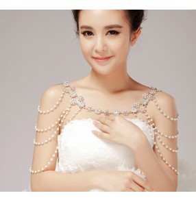White Silver alloy beaded diamond women's ladies wedding evening party bridal cape necklace jewelry neck acessories