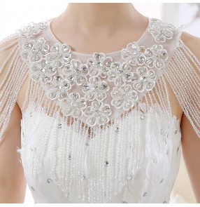 White silver beaded flowers lace women's ladies wedding evening  party bridal layers tassels jewelry cape necklace accessories