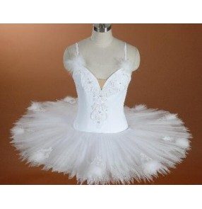 White swan lake girls kids child girls kids  children toddlers baby leotard tutu skirt  competition gymnastics ballet dance costumes slip dresses