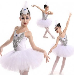 White v neck strap girls kids children swan lake competition performance school play tutu skirt ballet dance costumes dresses outfits