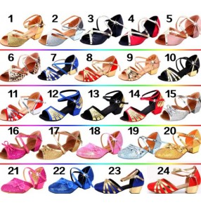 Whole sale kids children baby toddlers competition latin salsa  soft leather sole practice gymnastics ballroom dance shoes sandals