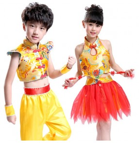 Wholesale discount cheap Gold red patchwork chinese folk dance girls boys children baby stage performance  cos play Martial  kung fu clothes costumes uniforms outfits