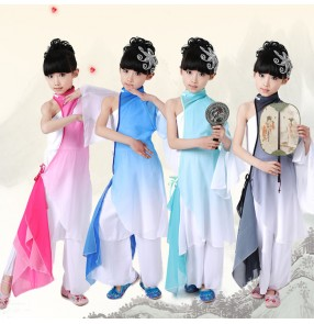 Wholesale discount cheap gradient blue turquoise black hot pink fuchsia one shoulder girls kids children performance cos play chinese folk fan classical ancient fairy dance costumes outfits dresses