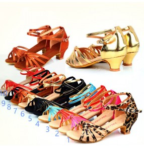 Wholesales cheap soft cow leather sole five belt multi styles medium shoes heel  girls kids baby children performance competition school play latin ballroom dance shoes sandals