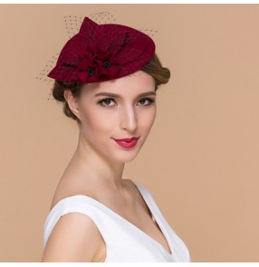 Wine red black colored 100% Australian wool handmade vintage fashion fascinators  veil top evening party wedding bridals pillbox hats fedoras