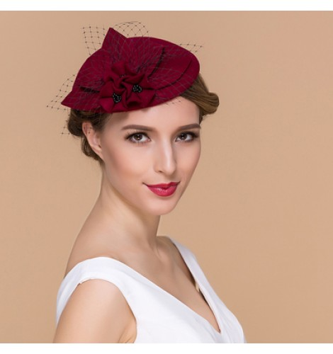 e1d7cfddf08 Wine red black colored 100% Australian wool handmade vintage fashion  fascinators veil top evening party wedding bridals pillbox hats fedoras