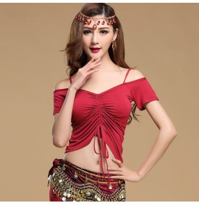 Wine red black violet purple indian modal egypt short sleeves dew shoulder draw string top women's ladies female competition performance professional sexy belly dance costumes tops outfits