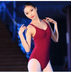 Wine red  spandex patchwork backless women's ladies adult female competition performance professional ballet gymnastics leotards ballet latin dance tops bodysuits