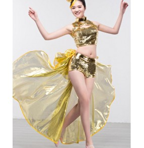 Women's girls lady fashionable silver sequined jazz dance costumes DJ Ds dance costumes top and shorts with tail fabric dance wear dresses