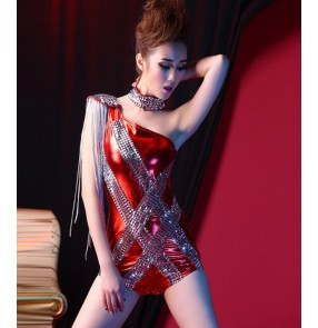 Women's Sexy Royal blue black red  Leotard Color Patchwork Match DJ Bodycon Clubwear Singer Costumes Dance Jumpsuits