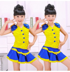 Yellow and royal blue patchwork v neck  girls kids children toddlers performance cos play modern dance cheer leading school play jazz outfits dance wear
