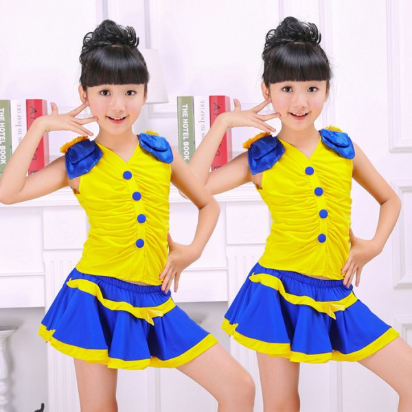 f144a08603c95 Yellow and royal blue patchwork v neck girls kids children toddlers  performance cos play modern dance cheer leading school play jazz outfits  dance wear