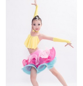 Yellow blue fuchsia hot pink patchwork girls kids children performance competition latin salsa cha cha dance dresses set