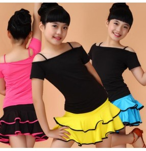 Yellow fuchsia blue turquoise red patchwork girls kids child children toddlers growth gymnastics short sleeves practice latin salsa dance dresses