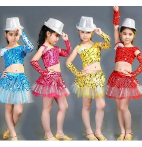 Yellow fuchsia hot pink red blue sequined girls kids children toddlers kindergarten modern dance jazz dance school play outfits costumes