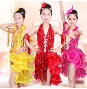 Yellow gold fuchsia hot pink red  v neck sequins rhinestones fringes tassels backless girls performance competiiton school play  ballroom latin salsa dance dresses outfits