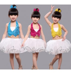 Yellow gold fuchsia hot pink turquoise princess sequins girls kids children kindergarten school play performance backless jazz modern dance  outfits costumes
