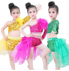 Yellow gold hot pink fuchsia royal blue red sequins paillette one shoulder girls kids children modern dance school play jazz performance outfits costumes