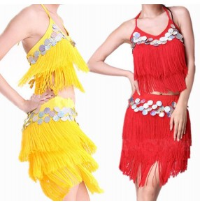 Yellow gold red royal blue fuchsia hot pink sequins backless adjustable bandage fringes split set competition performance women's girls latin salsa dance dresses set ourfits