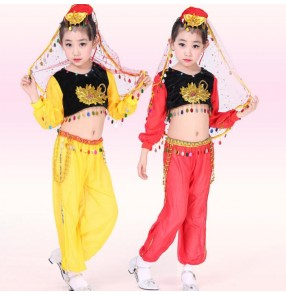 Yellow gold red sequined girls kids child children school play stage performance indian belly dance costumes  top and pants and head scarf