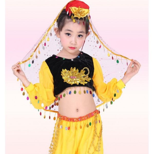 b1e38cb57d4b Yellow gold red sequined girls kids child children school play stage ...