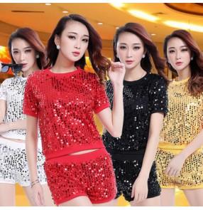 b906d37242 Yellow gold red silver black paillette women s girls sequins stage  performance modern dance jazz dance hip