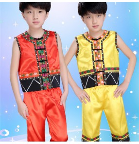 Yellow gold red sleeveless boys girls kids child folk dance modern dance jazz dance performance  hip hop dance outfits costumes
