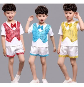 Yellow gold red turquoise blue boys kids kindergarten children modern dance stage performance jazz dance school play costumes outfits